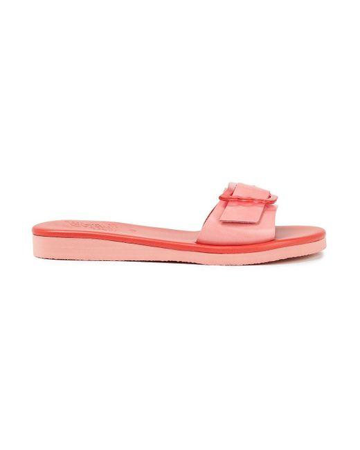 Ancient Greek Sandals Pink Aglaia Buckled Leather Slides