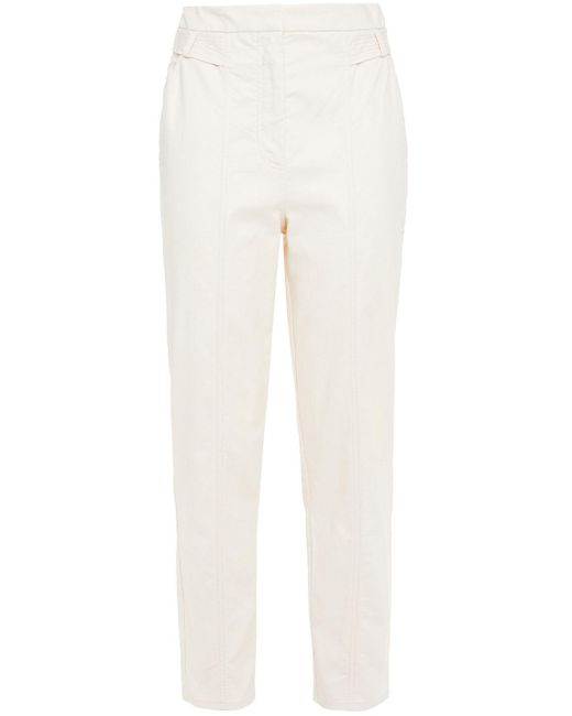 Iris & Ink Natural Claudia Cotton-blend Canvas Tapered Pants