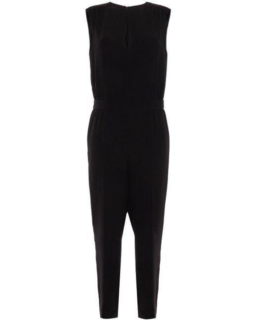 Theory Gathered Crepe Jumpsuit Black