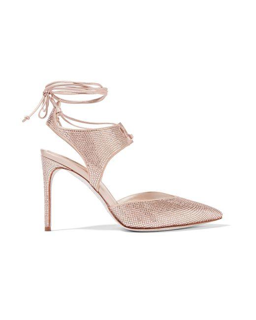 Rene Caovilla - Pink Crystal-embellished Satin Pumps - Lyst