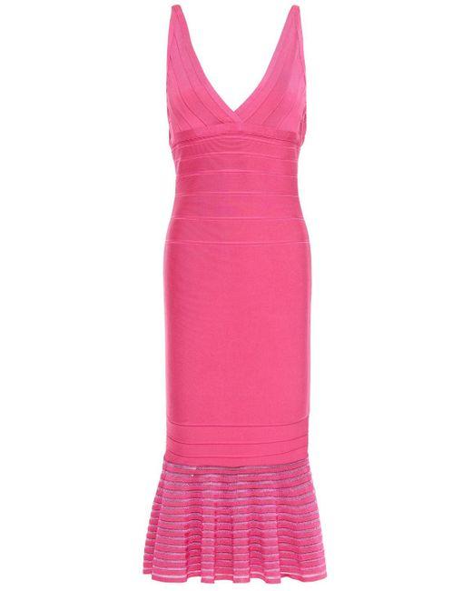 Hervé Léger Hervé Léger Fluted Bandage Midi Dress Bright Pink