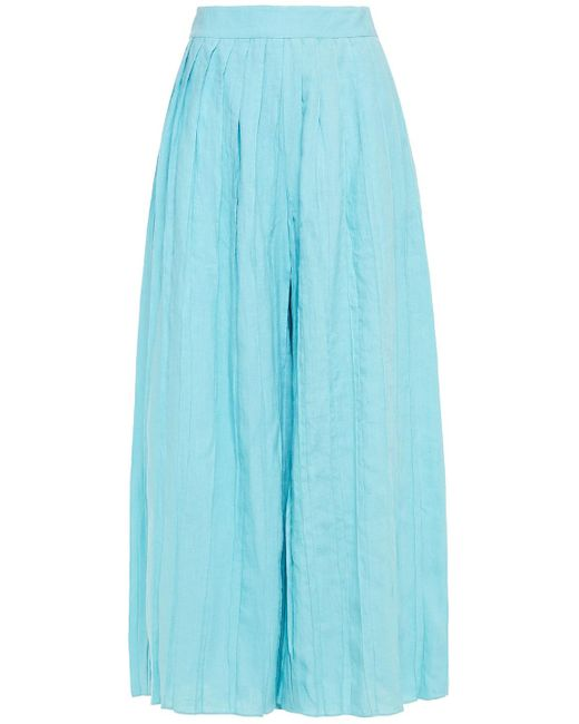 Mara Hoffman Blue Belinda Pleated Linen Wide-leg Pants
