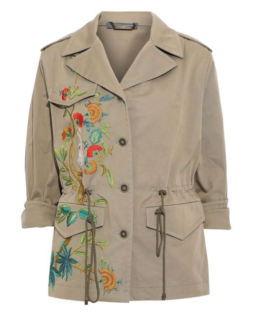 Alberta Ferretti Multicolor Embroidered Cotton-blend Gabardine Jacket Sand