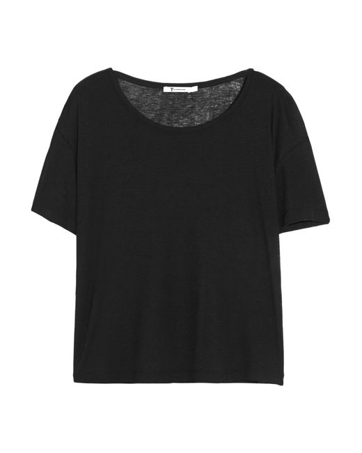 T By Alexander Wang | Black Jersey T-shirt | Lyst