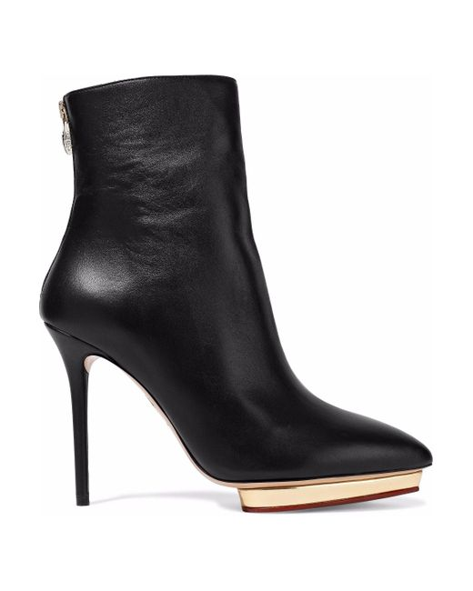 Charlotte Olympia - Black Leather Platform Ankle Boots - Lyst