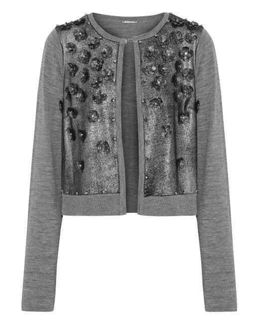 9fe9daf326c Elie Tahari - Woman Alena Embellished Metallic Suede-paneled Merino Wool  Cardigan Gray - Lyst ...