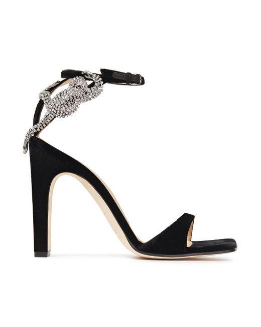 Sergio Rossi Black Crystal-embellished Velvet Sandals