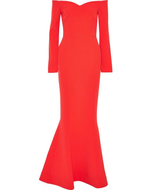 Rebecca Vallance L'amour Off-the-shoulder Cady Gown Tomato Red