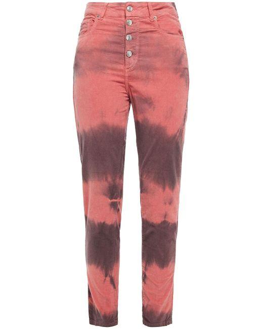 IRO Multicolor Palerm Tie-dye Cotton-blend Velvet Slim-leg Pants Antique Rose