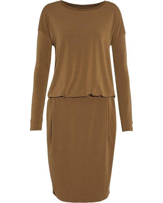 By Malene Birger - Wrap-effect Draped Stretch-crepe Dress Light Brown - Lyst