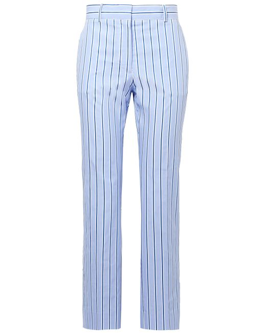 Victoria, Victoria Beckham Cropped Striped Cotton Straight-leg Pants Light Blue