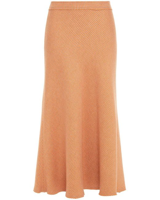 Rodebjer Fluted Houndstooth Knitted Midi Skirt Orange