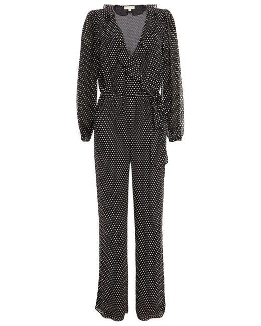 MICHAEL Michael Kors Black Wrap-effect Ruffled Polka-dot Crepe De Chine Jumpsuit