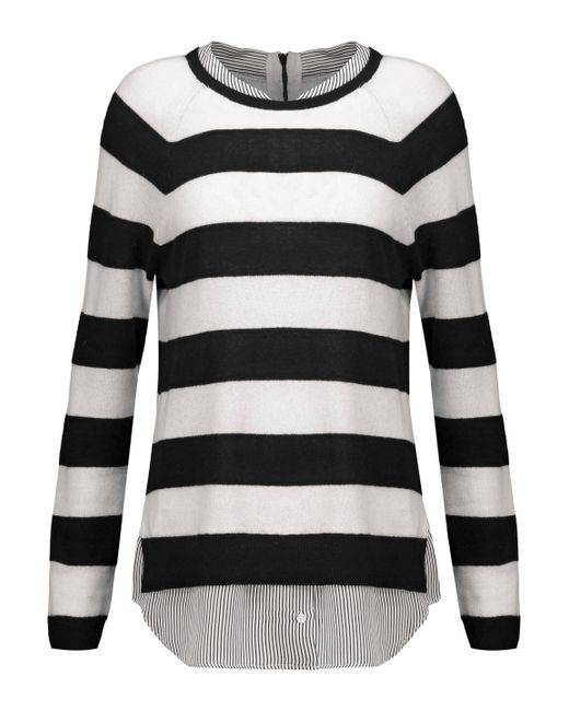 Joie | Black Aisly Silk-trimmed Striped Cashmere Sweater | Lyst