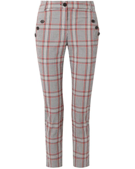 Veronica Beard Blue Farrow Checked Cotton-blend Slim-leg Pants