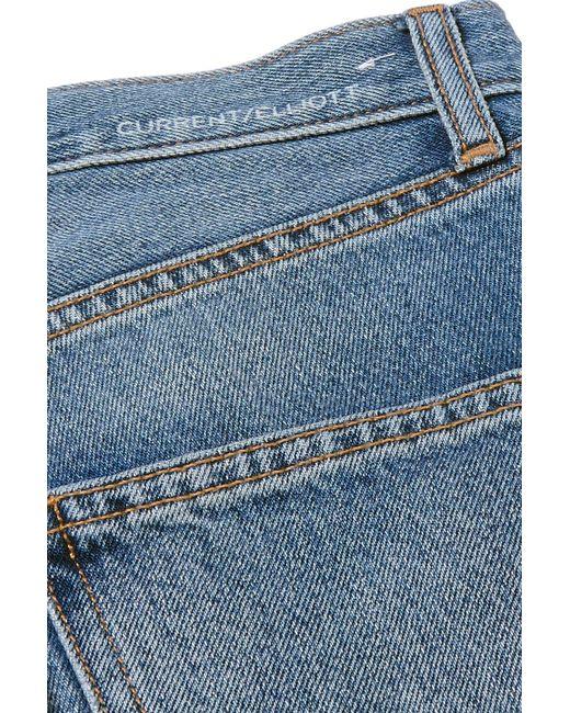 5e9eb683 ... Current/Elliott - Blue The Throwback Original Distressed High-rise  Straight-leg Jeans ...