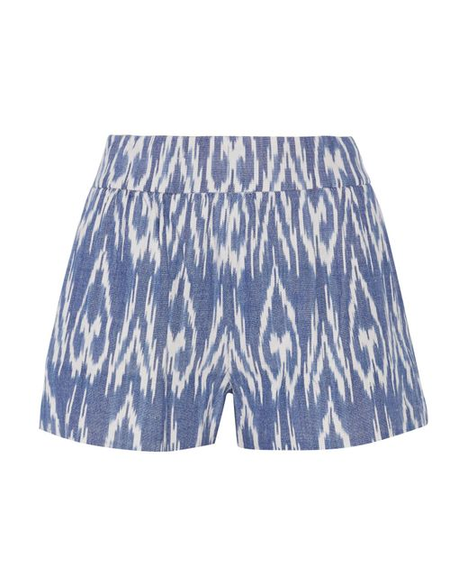 Alice + Olivia | Blue Woven Cotton Shorts | Lyst