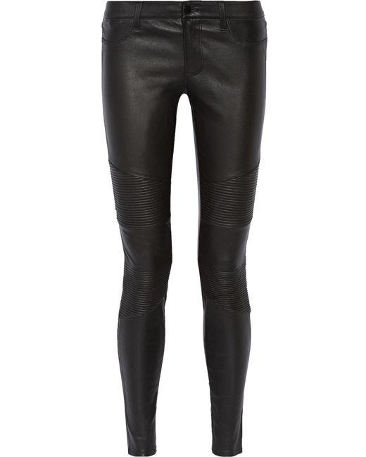 J Brand | Black Tonya Moto-style Leather Skinny Pants | Lyst