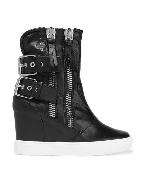 giuseppe zanotti polishedleather wedge sneakers in black
