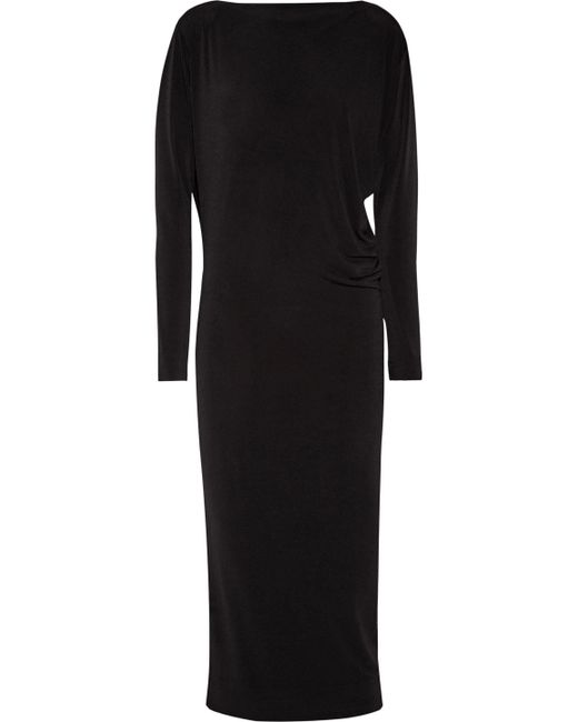By Malene Birger - Black Wafinni Ruched Stretch-crepe Midi Dress - Lyst