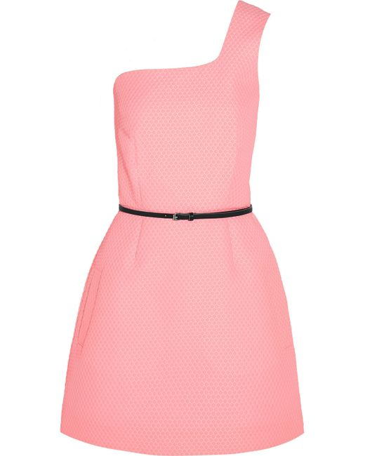Victoria, Victoria Beckham - One-shoulder Jacquard Mini Dress Baby Pink - Lyst