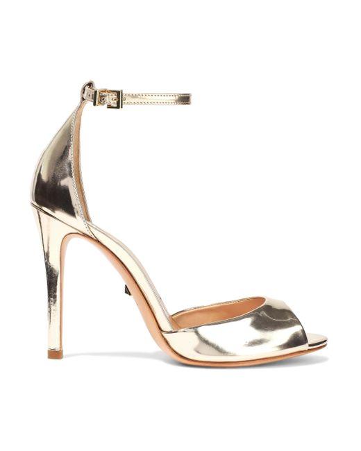 Schutz Metallic Saasha Lee Mirrored-leather Sandals Gold