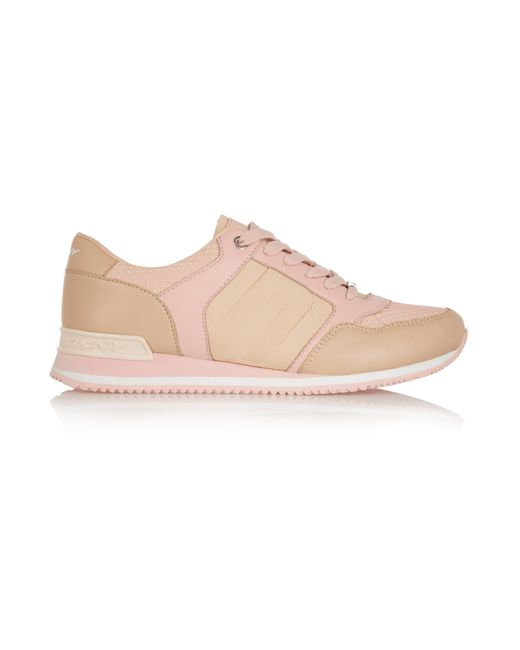 dkny mesh leather and scuba jersey sneakers in pink