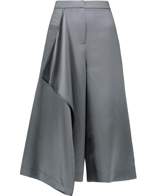 Tibi | Gray Draped Satin Culottes | Lyst