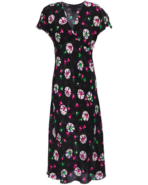 Anna Sui Floral-print Silk Crepe De Chine Midi Dress Black