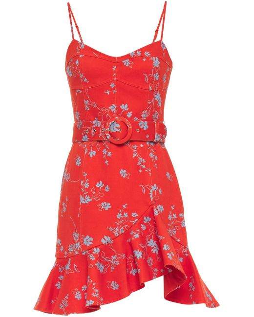 Nicholas Arielle Ruffled Floral-print Cotton-blend Twill Mini Dress Tomato Red