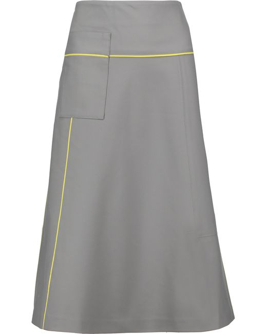 raoul cotton blend midi skirt in grey lyst