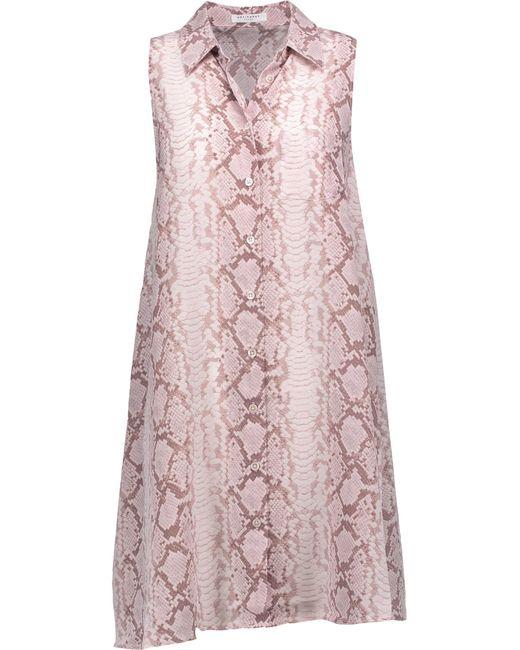 Equipment | Pink Mina Snake-print Washed-silk Mini Dress | Lyst