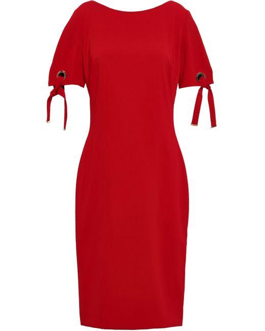 Badgley Mischka Red Embellished Stretch-crepe Dress Crimson