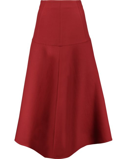 marni wool twill midi skirt in multicolor claret save