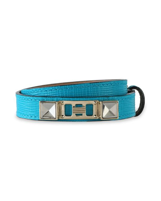 Proenza Schouler Blue Lizard-effect Leather, Silver And Gold-tone Bracelet Turquoise