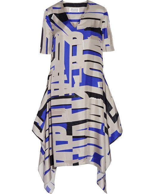 Maison Margiela | Blue Asymmetric Printed Silk Midi Dress | Lyst