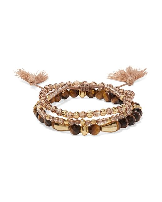 Chan Luu | Brown Set Of Three Beaded Bracelets | Lyst