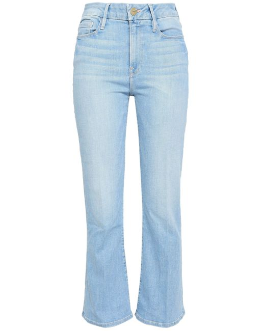 54875a06 FRAME - Blue Woman Faded High-rise Bootcut Jeans Light Denim - Lyst ...