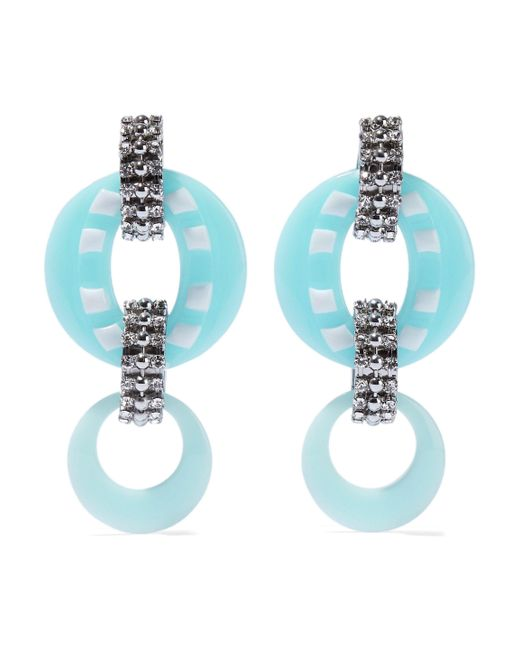 DANNIJO - Blue Armie Silver-tone Crystal And Resin Earrings - Lyst