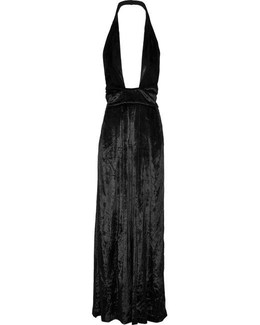 MILLY - Black Crushed-velvet Halterneck Jumpsuit - Lyst