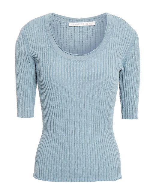 Veronica Beard Dany Ribbed-knit Top Sky Blue