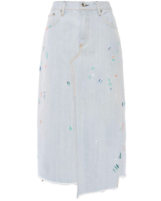 Rag & Bone Blue Asymmetric Frayed Denim Midi Skirt Light Denim
