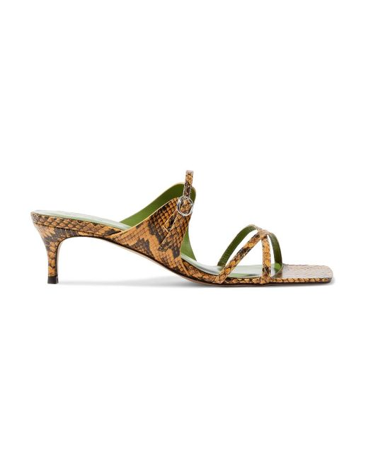 By Far Multicolor Candy Snake-effect Leather Sandals Animal Print