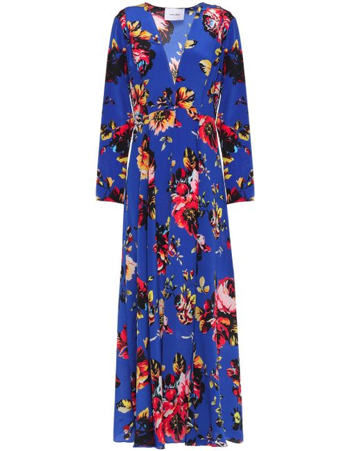 We Are Leone Belted Silk Crepe De Chine Robe Cobalt Blue