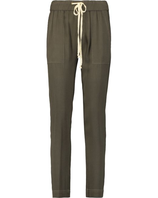 Enza Costa | Green Crepe Tapered Pants | Lyst