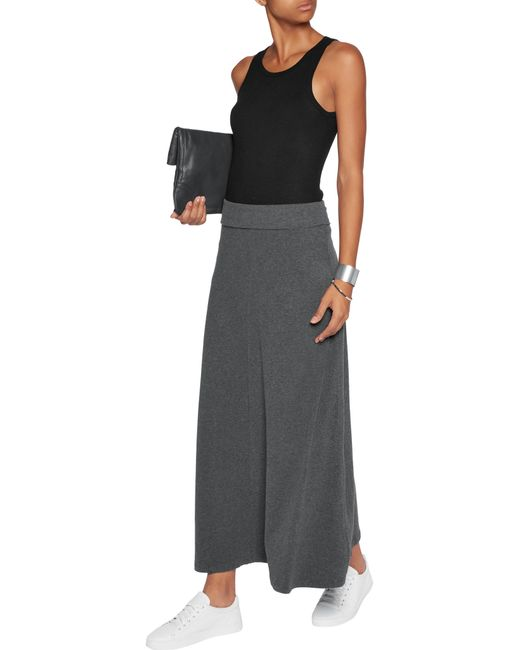 cotton blend jersey maxi skirt in multicolour