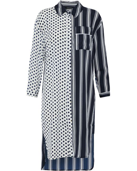 W118 by Walter Baker - Blue Nancy Paneled Ruffle-trimmed Printed Crepe De Chine Shirt Dress - Lyst