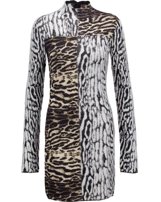 Roberto Cavalli | Multicolor Paneled Jacquard-knit Mini Dress | Lyst