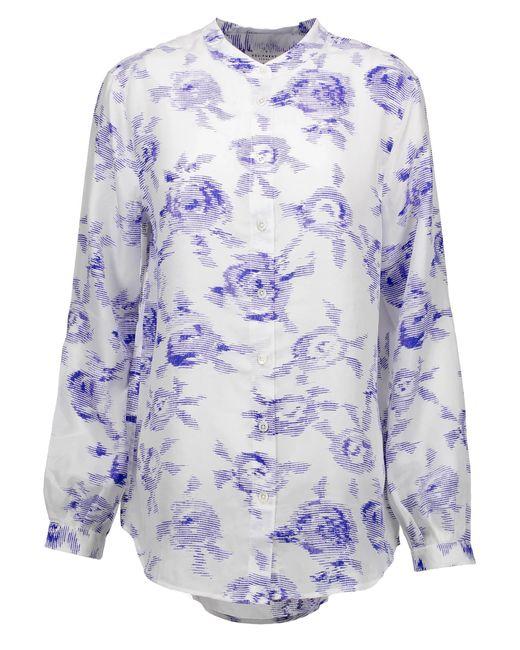 Equipment | Blue Henri Printed Washed-silk Shirt | Lyst