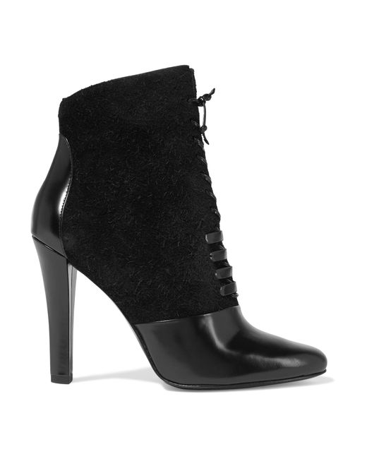 3.1 Phillip Lim | Black Harleth Leather And Lace Ankle Boots | Lyst